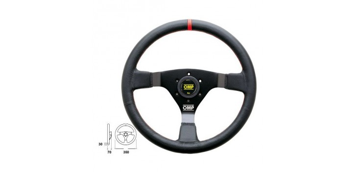 Volant OMP WRC CUIR COUTURES ROUGES