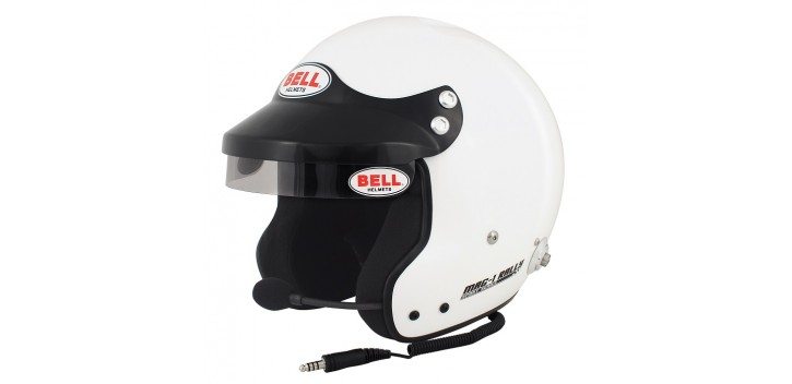 Casque FIA jet BELL MAG-1 Rally 8859-2015, SNELL SA2015 blanc