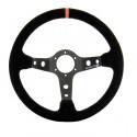 Volant ORECA Pro Rallye 3 branches tulipage 90 mm en peau retournée