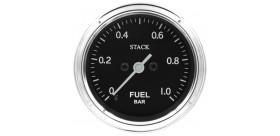 Manomètre STACK analogique pro classique pression essence 0-1 bar